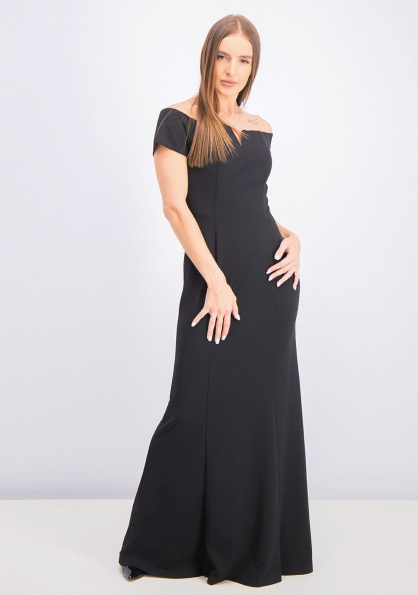 Women's Notched Off-the-Shoulder Gown, Black
