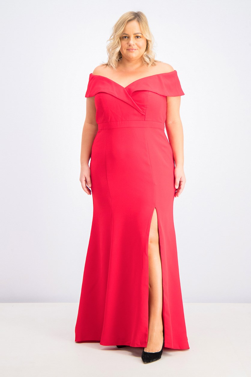 Women's Plus Size Off-The-Shoulder Slit Gown, Red