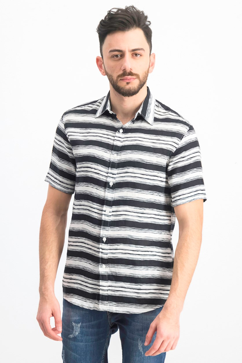 Men's Stripe Slim Fit  Shirt, Black/White
