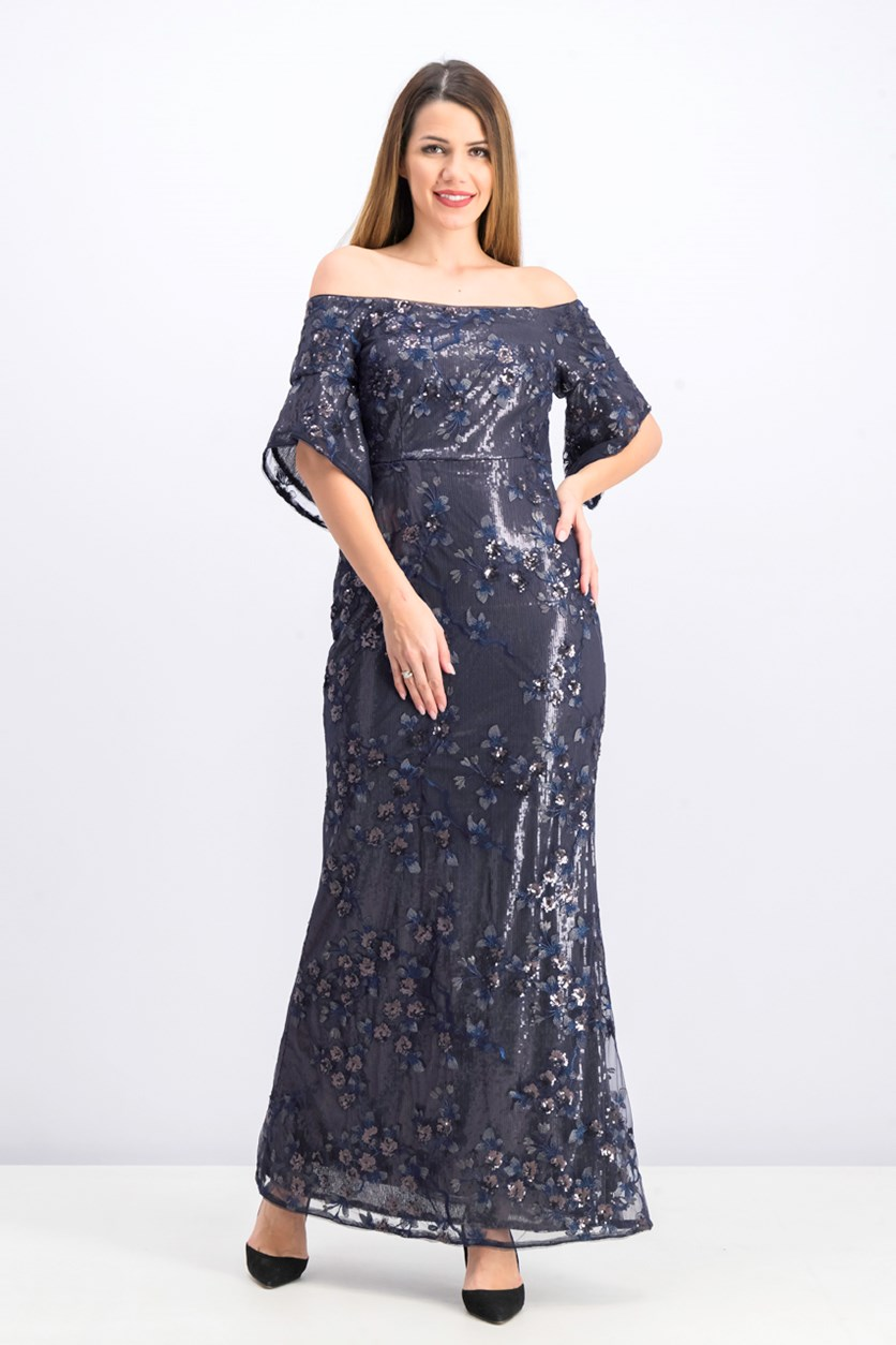 Women's Off-The-Shoulder Sequined Lace Evening Dress, Navy