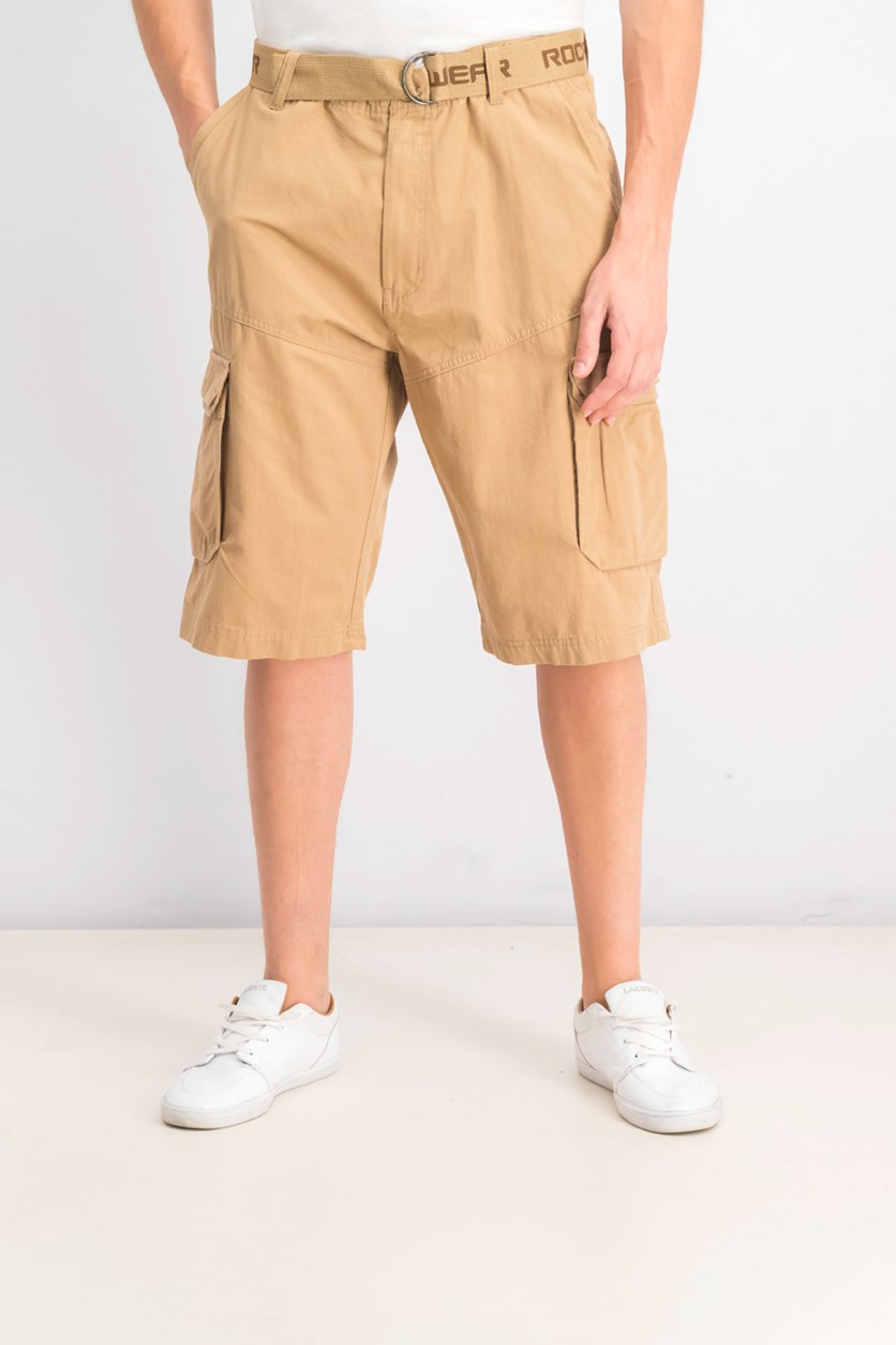 Mens Adventure Belted Cargo Short, Brown