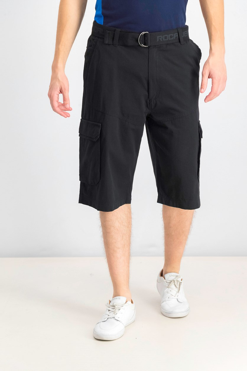 Mens Adventure Belted Cargo Short, Black