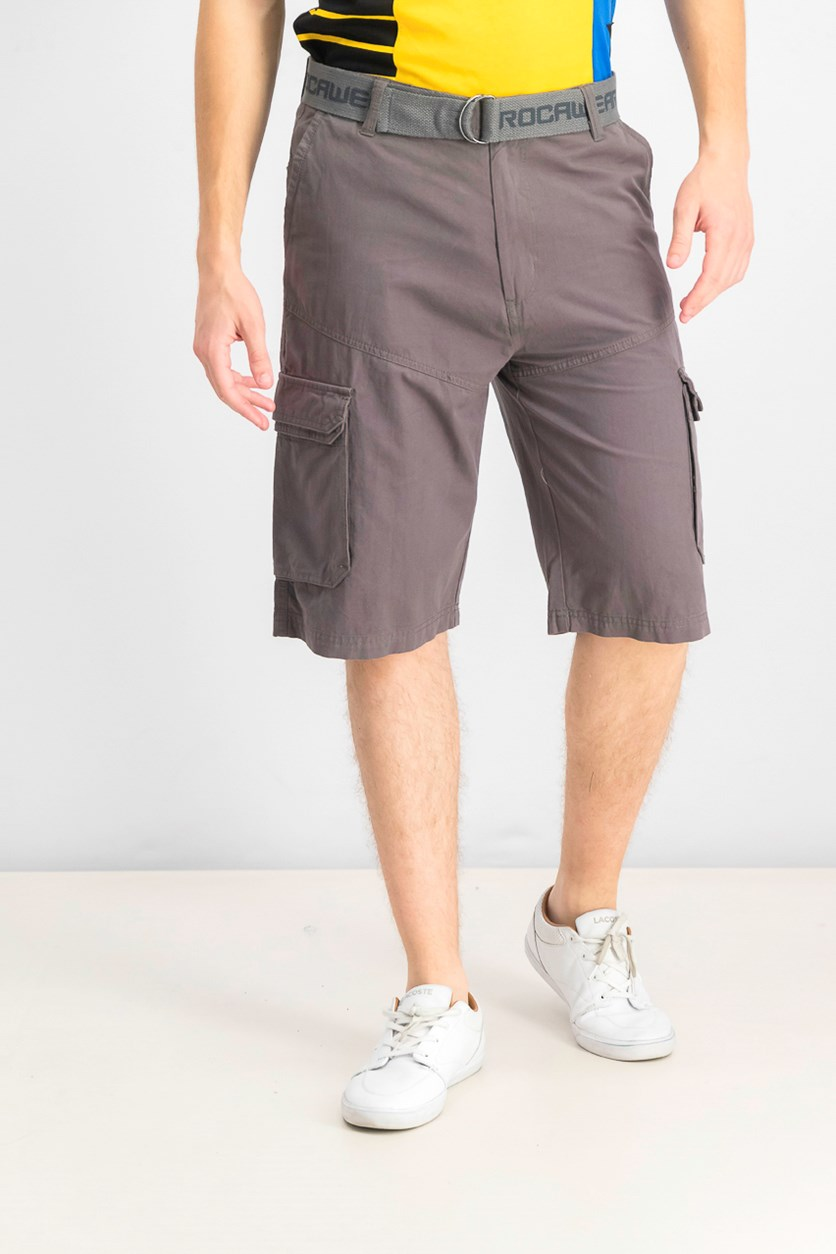 Mens Adventure Belted Cargo Short, Charcoal