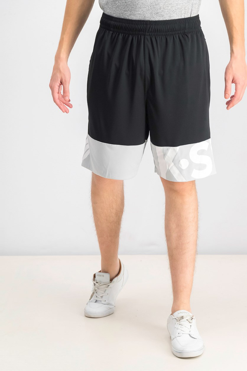 Men's Pull On Out Of Line Shorts, Black/White