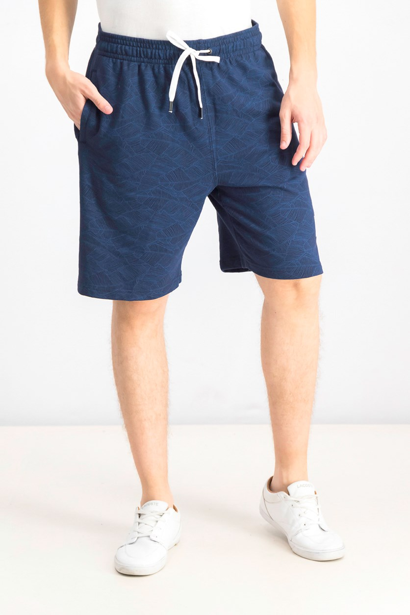 Men's Allover Print Palm Volley Shorts, Navy Blue