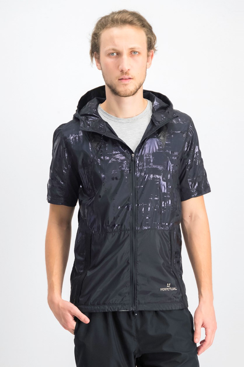 Men's Printed Hooded Short-Sleeve Windbreaker, Black