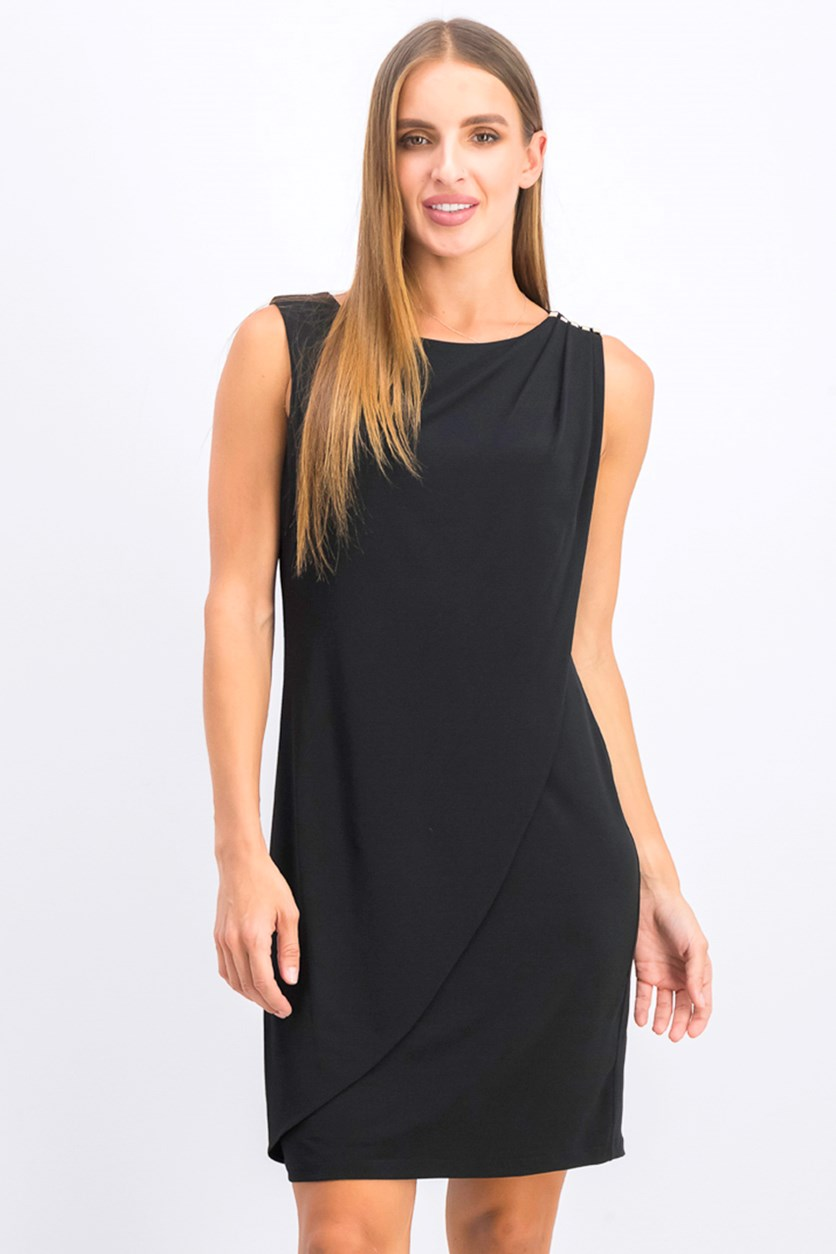 Women's Sleeveless Shift Dress, Black