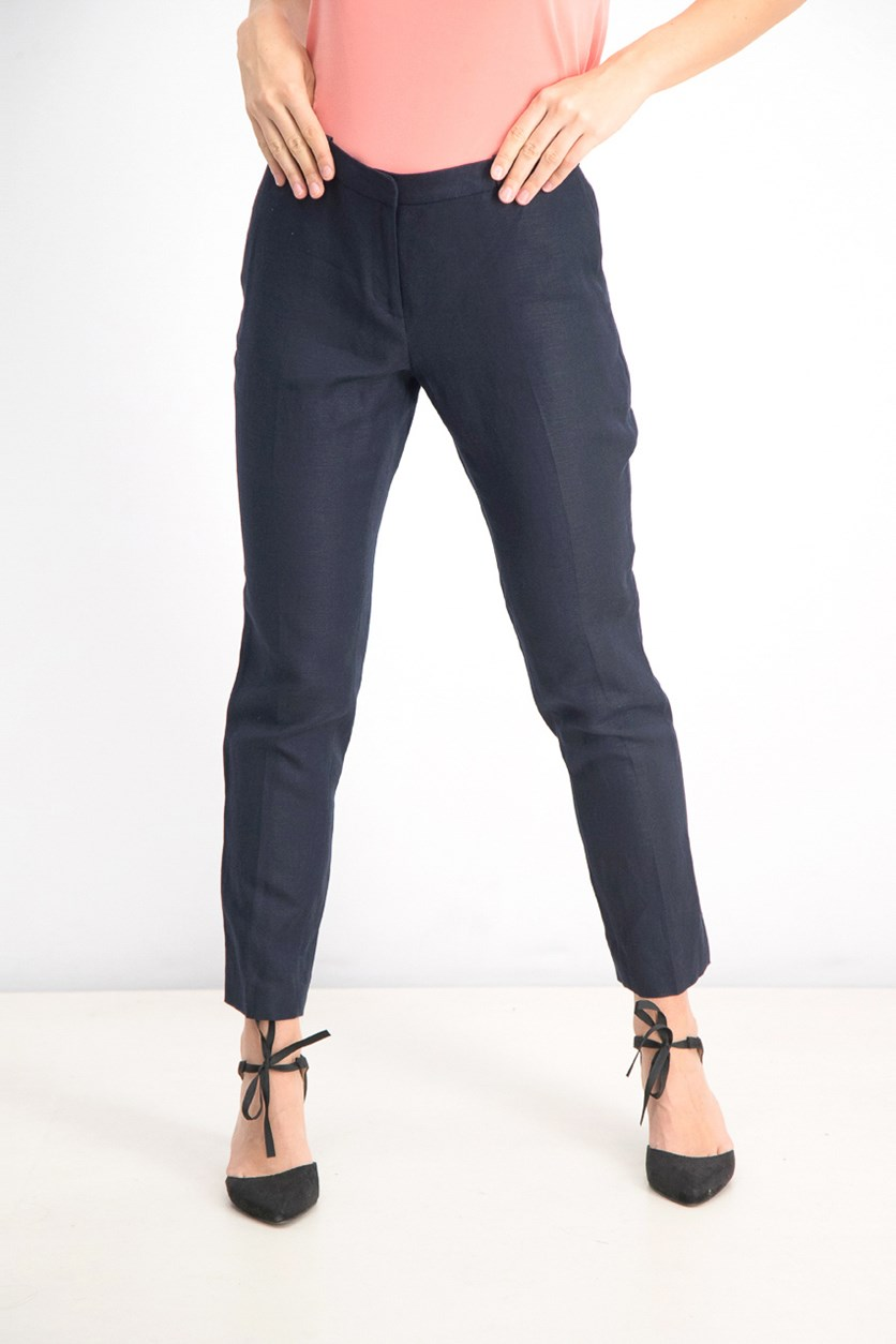 Women's Linen Radcliff Pants, Navy Blue