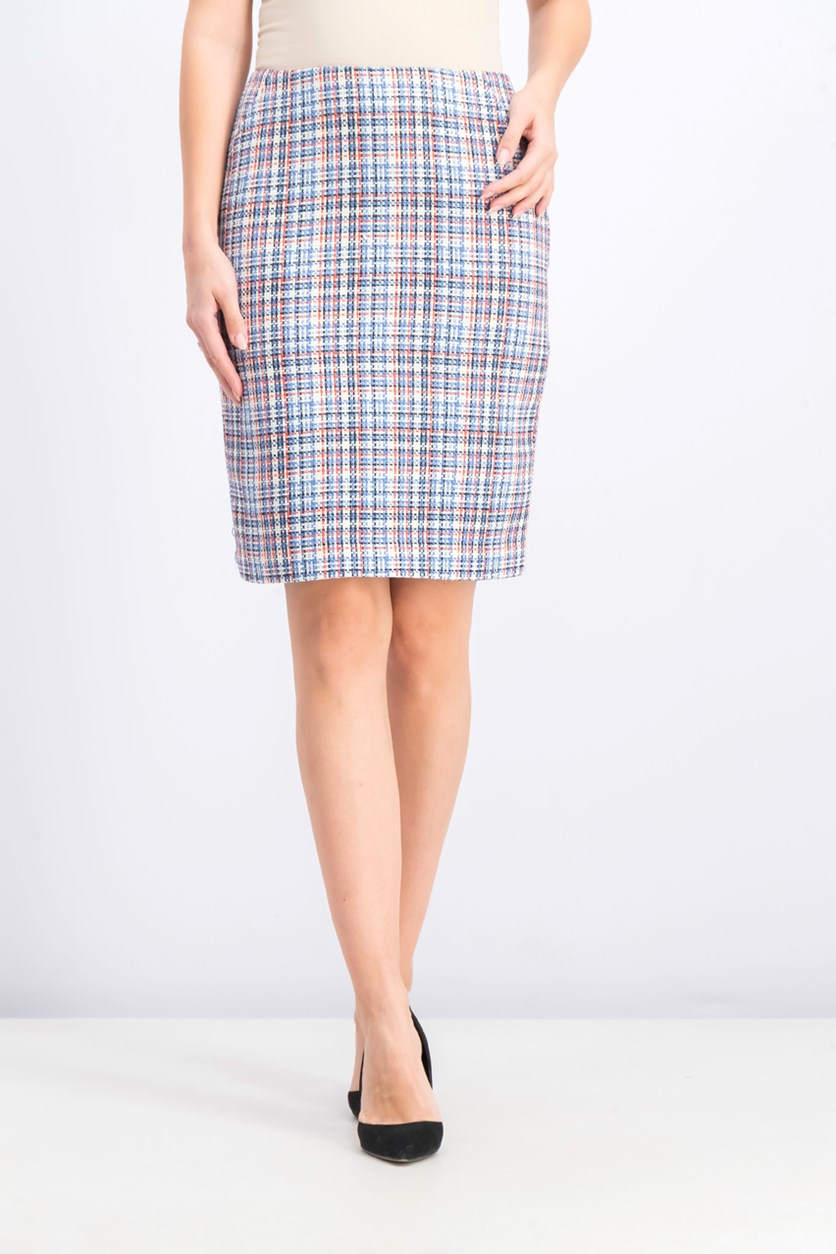 Womens Tweed Above Knee Pencil Skirt, White Combo