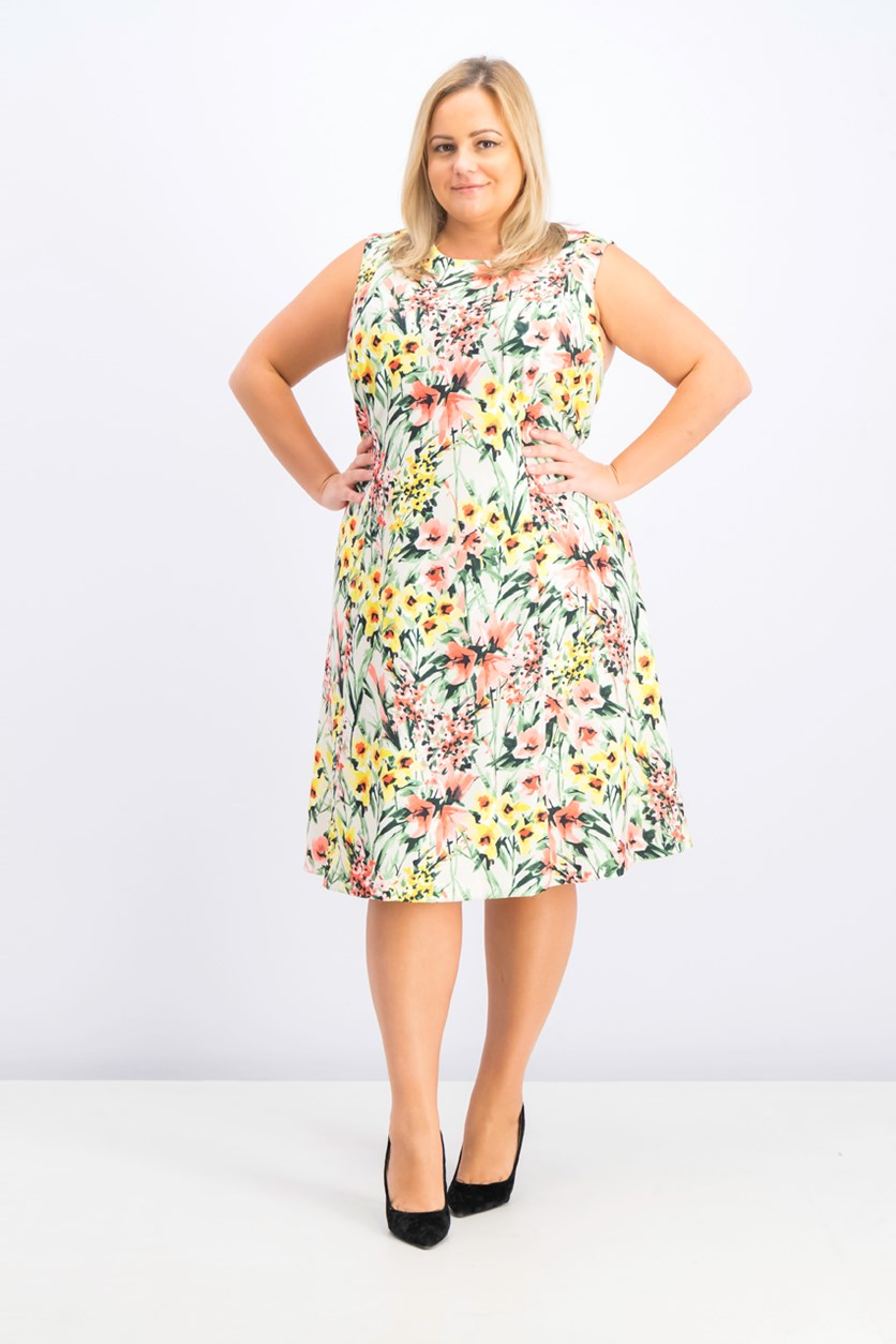 Women's Plus Size Floral Fit & Flare Dress, Yellow/Green Combo