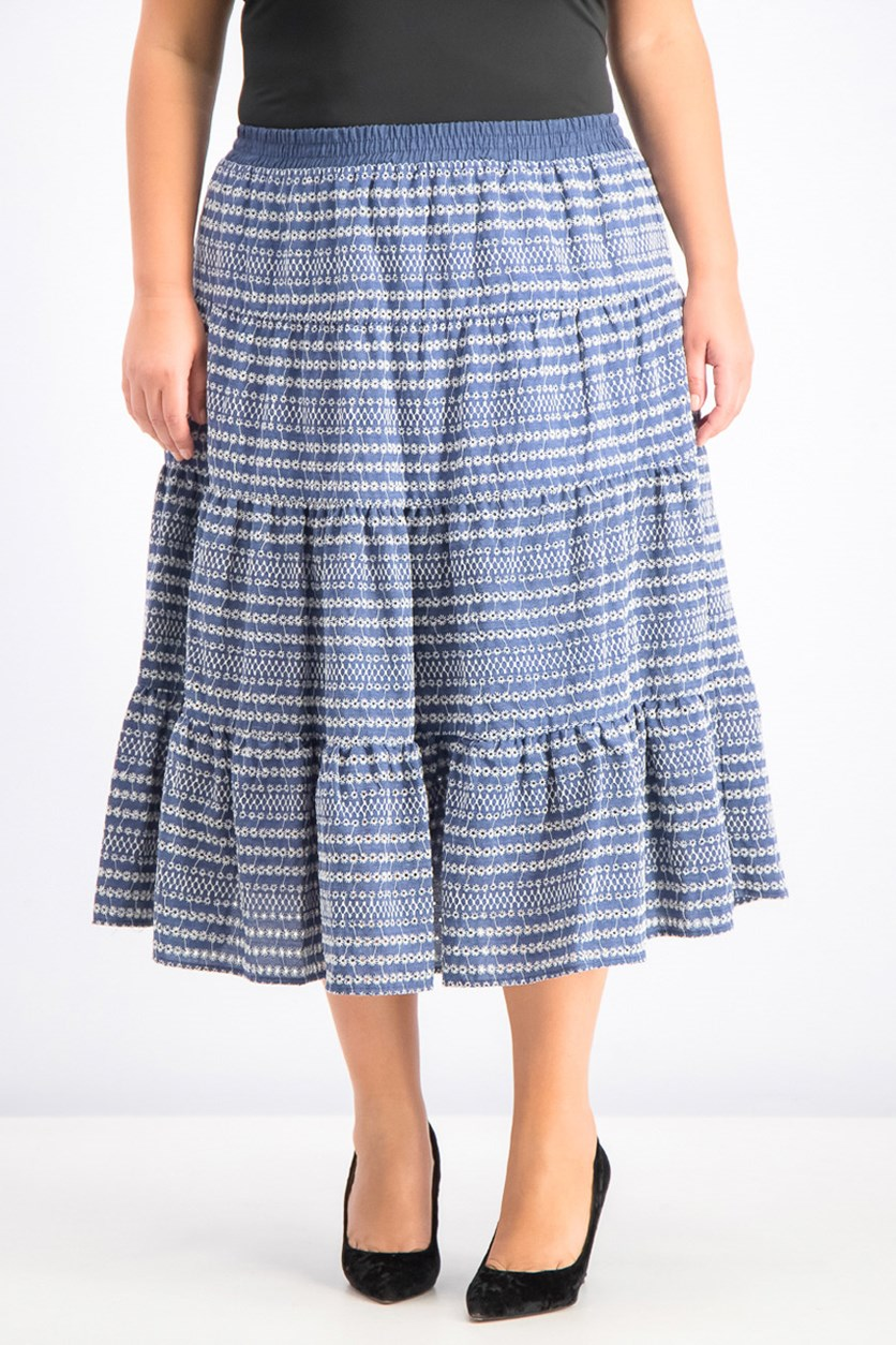 Women's Textured Skirt, Aquarius Blue
