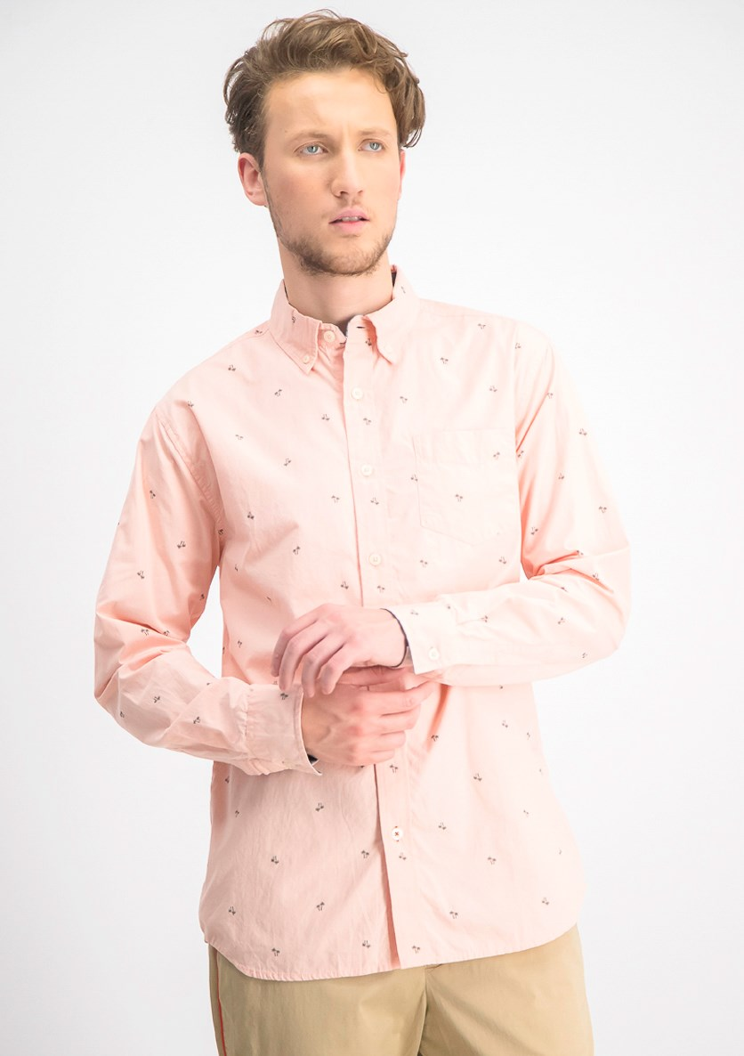 Men's Mini Convo Cotton Printed Button-Down Shirt, Pink