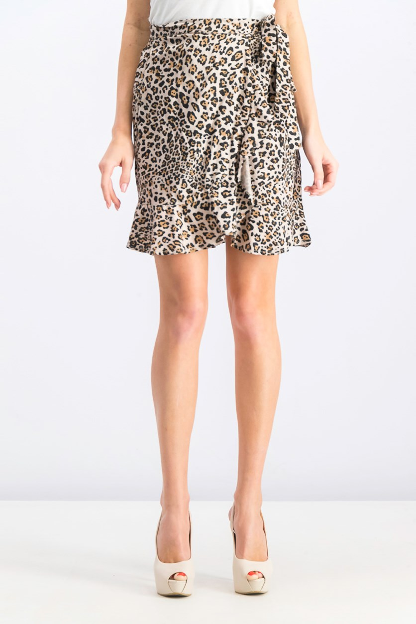 Women's Ruffle Wrap Mini Skirt, Doeskin Animal