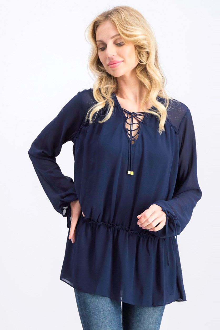 Womens Semi-Sheer Lace-Up Blouse, True Navy