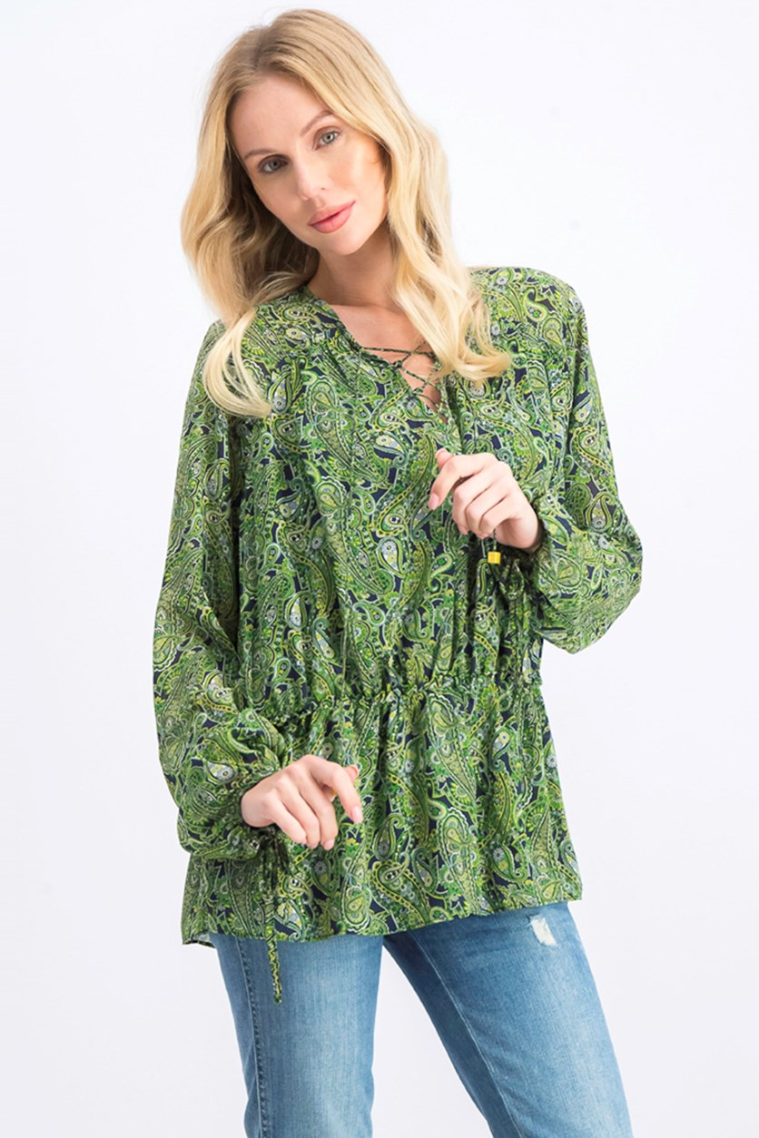 Women's Paisley Print Lace-up Peasant Top, Green