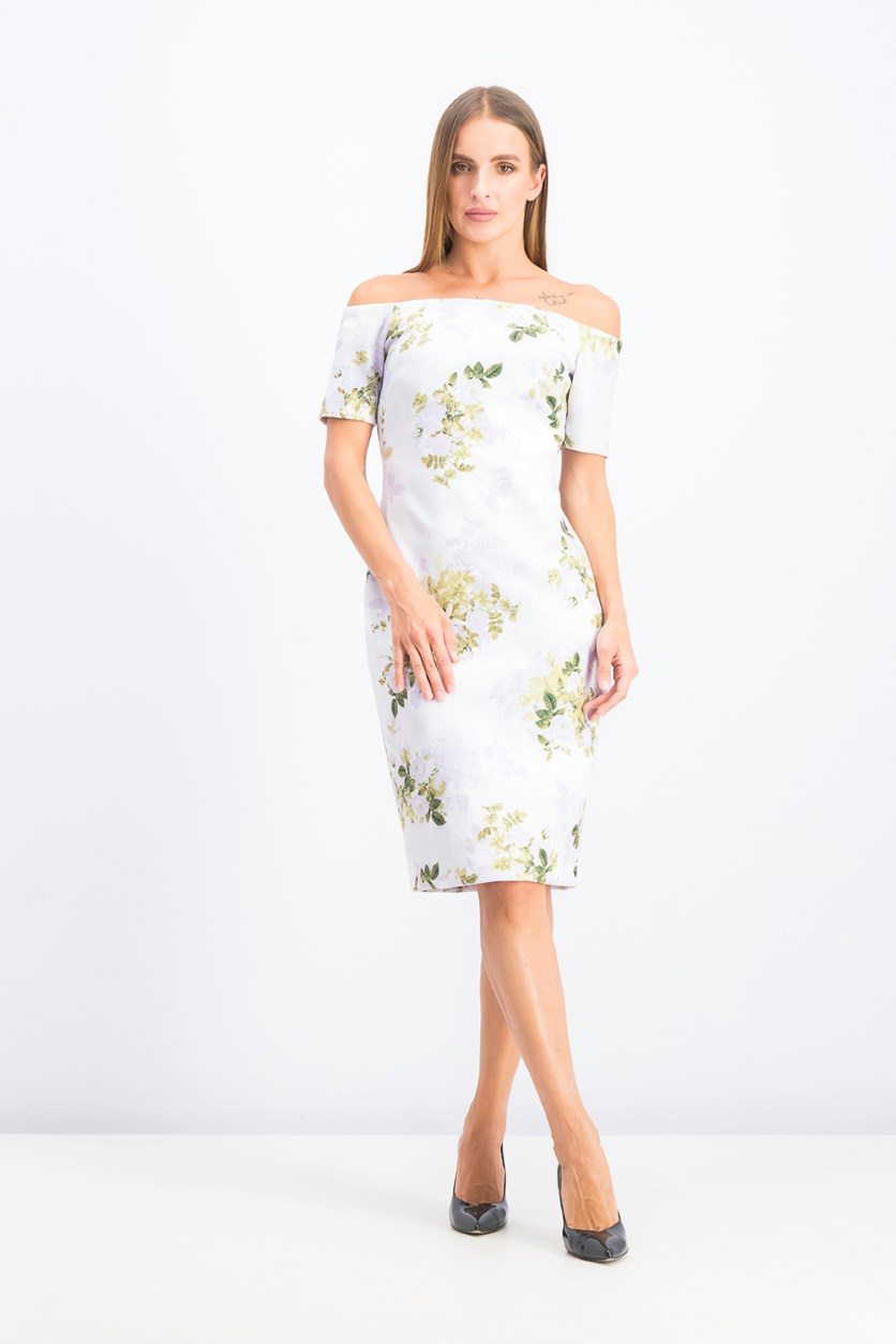 Women's Off-The-Shoulder Floral Scuba Sheath Dress, White/Purple/Green