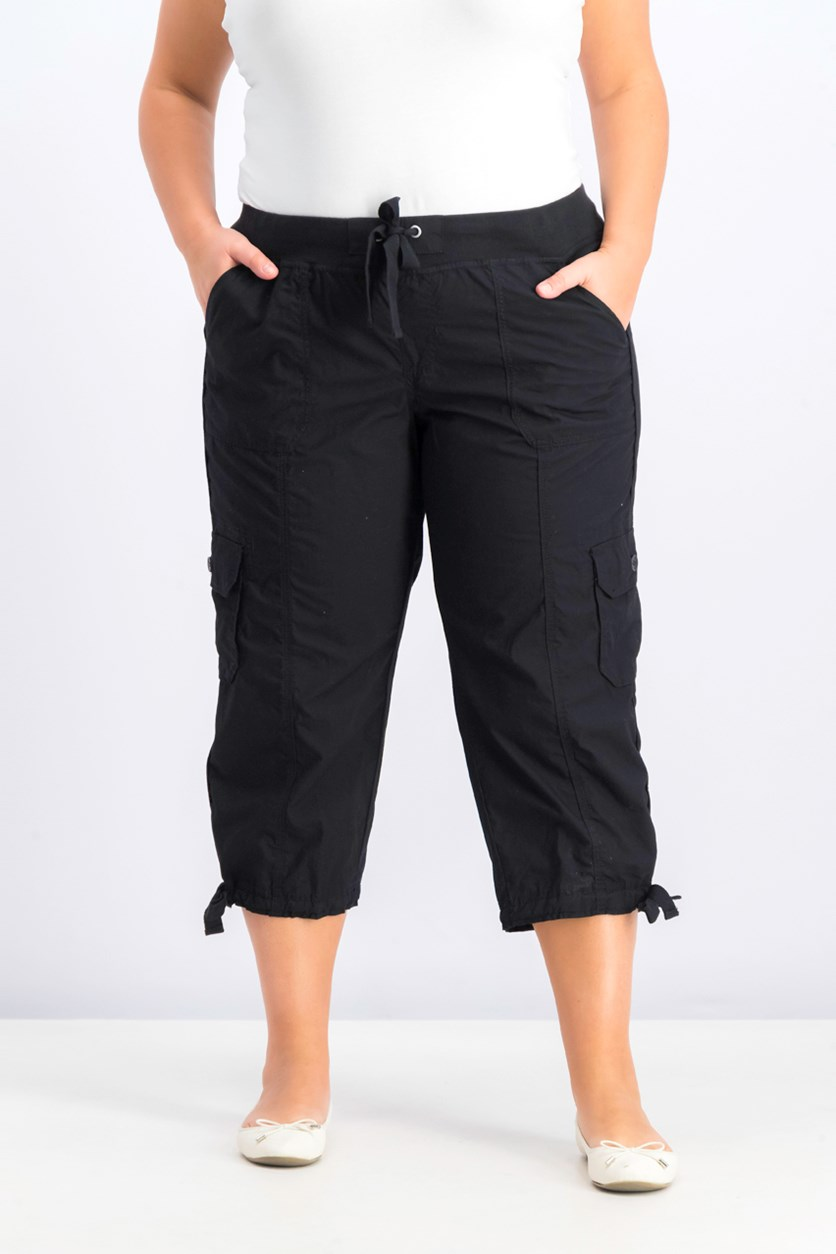 Women's Plus Size Cropped Cargo Pants, Black