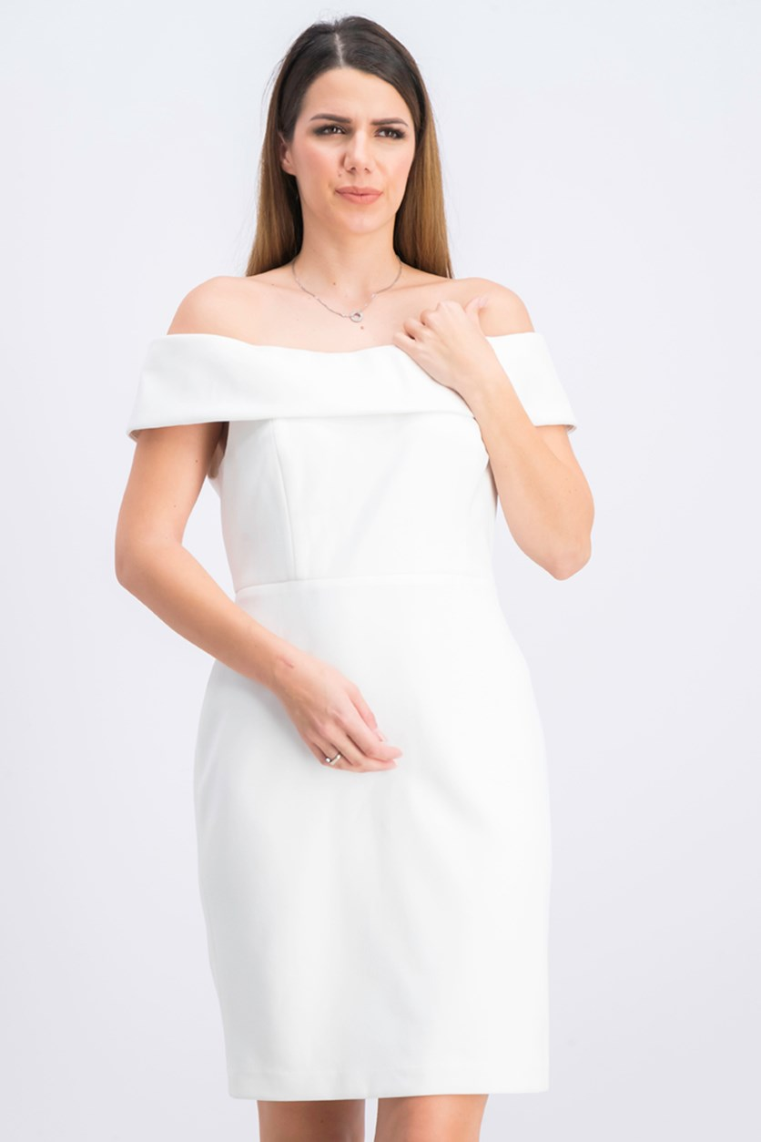 Women's Petite Off-the-Shoulder Sheath Dress, White