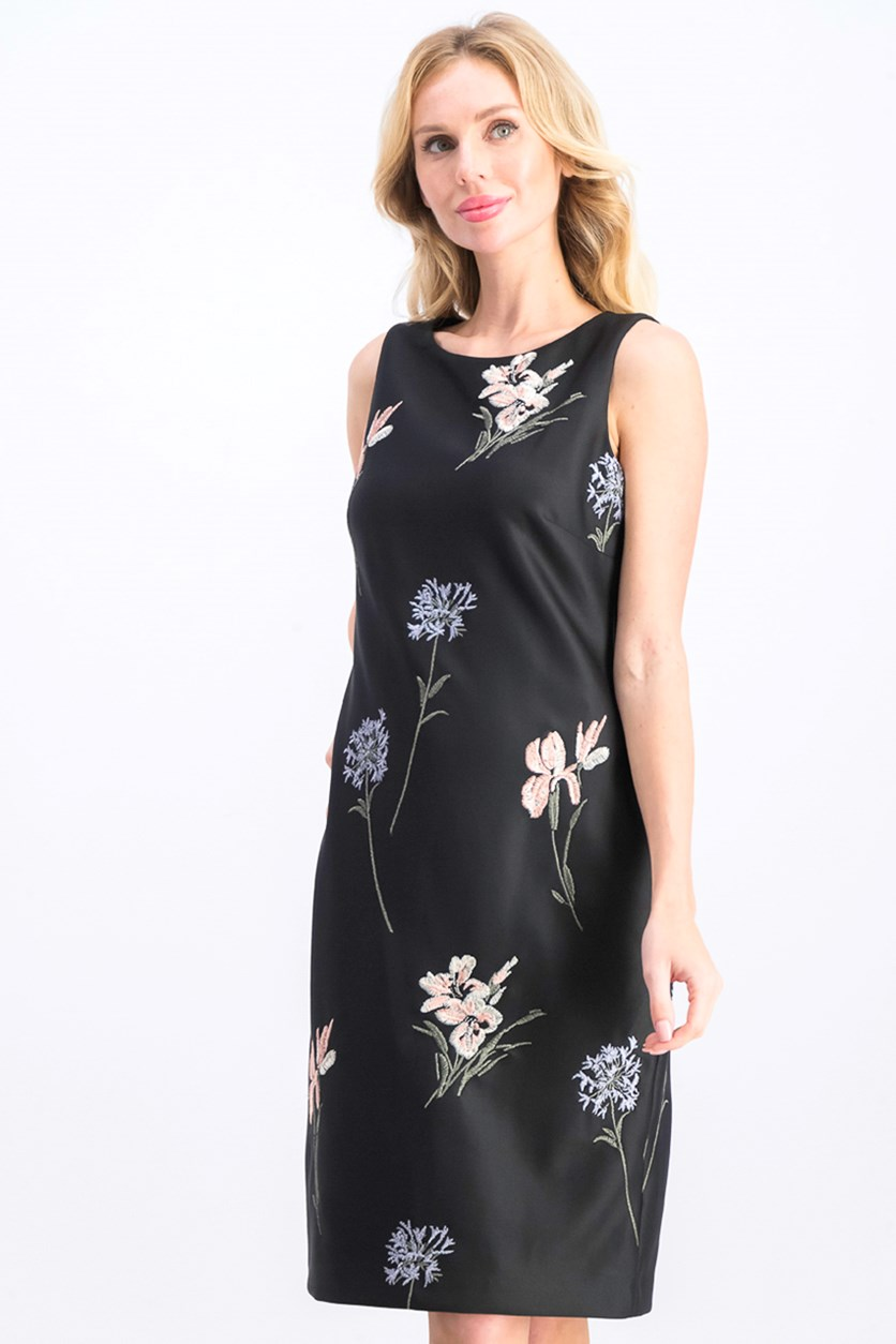 Women's Floral Embroidered Sheath Dress, Black
