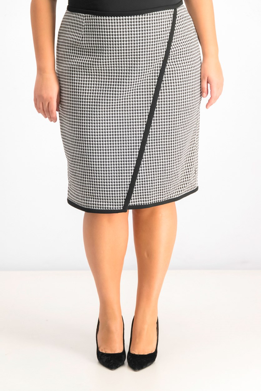 Women's Houndstooth Skirt, Black White