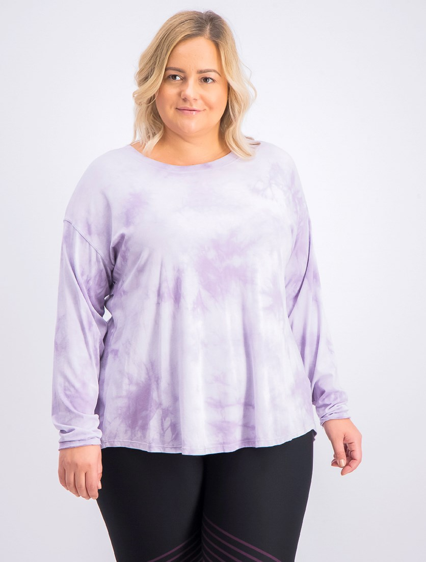 Women's Plus Size Tie-Dyed Drop-Shoulder T-Shirt, Purple
