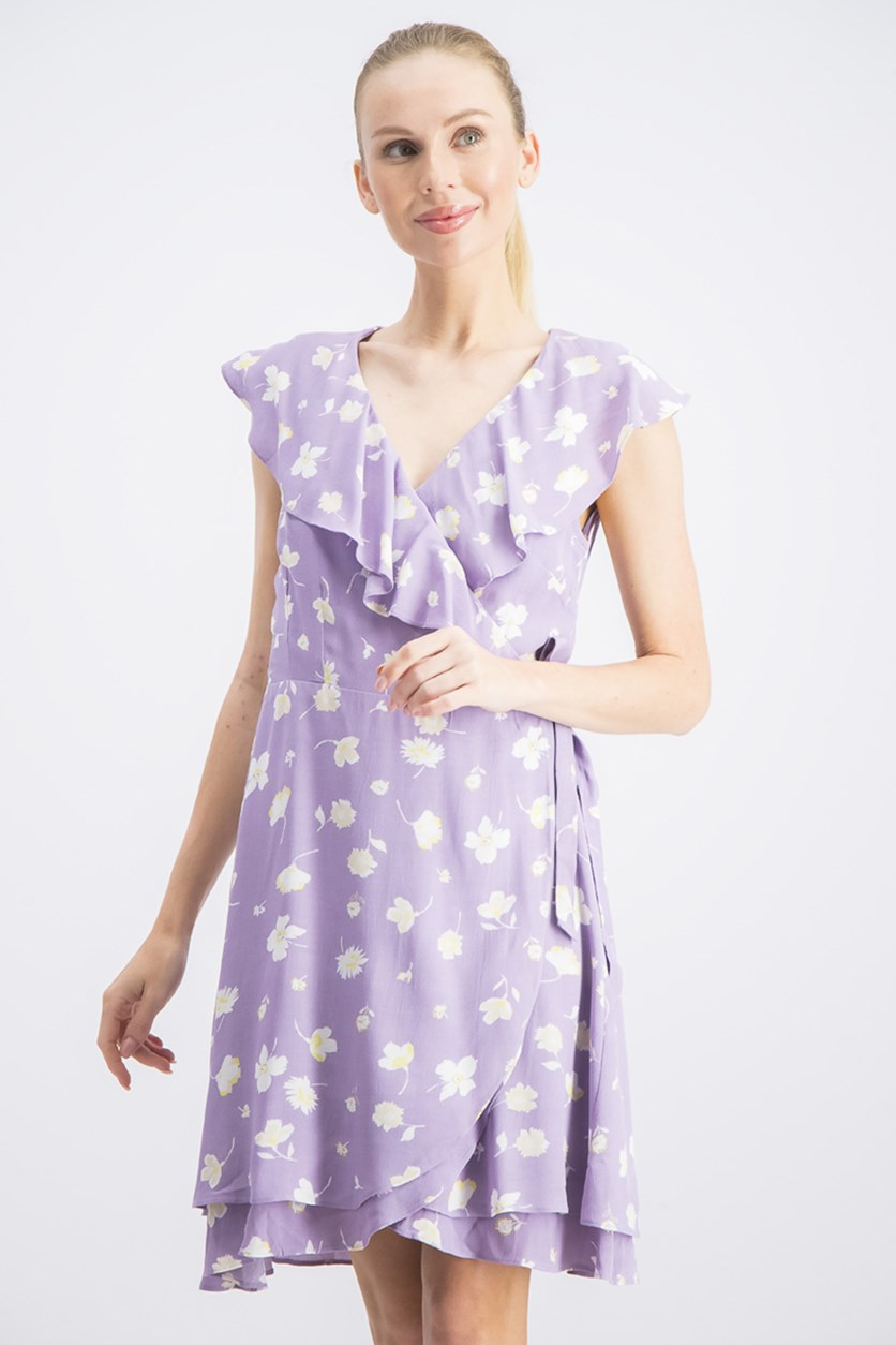 Women's Printed Wrap Dress, Purple Floral