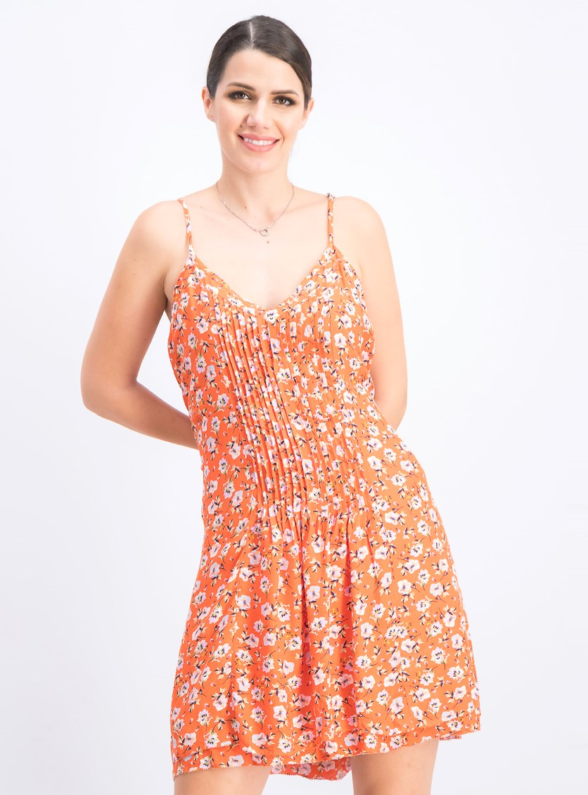 Women's Spring Ahead Floral Tank Dress, Orange