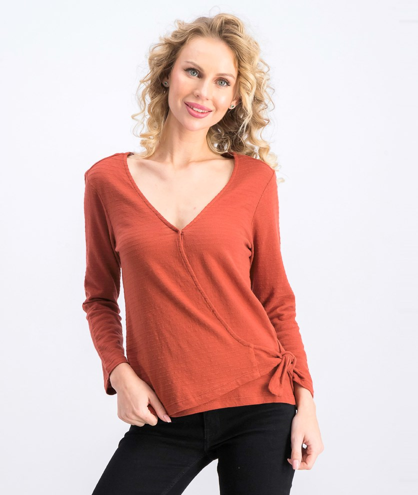Womens Sanctuary Emelie Cotton Textured Wrap Top, Sedona
