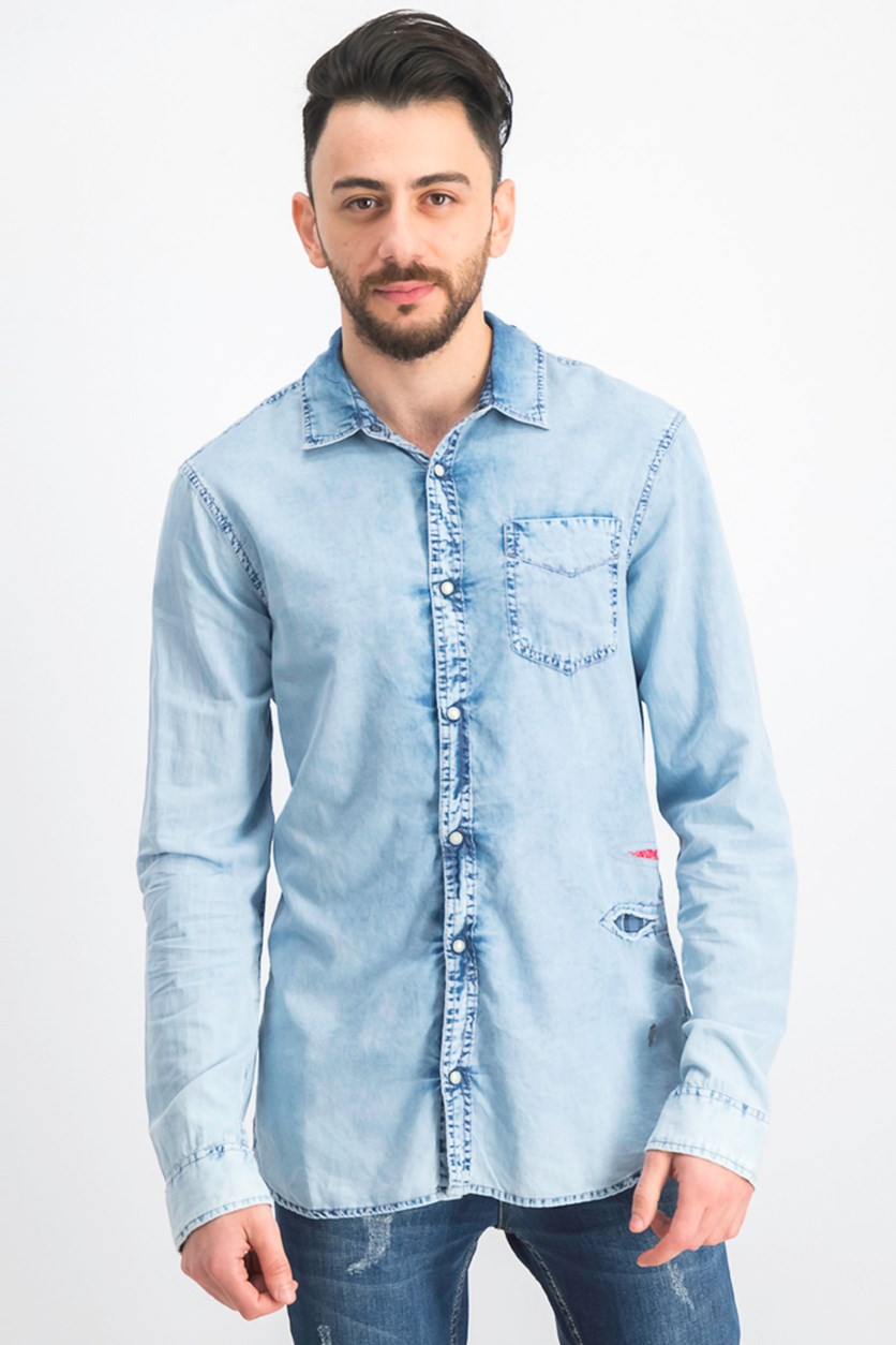 Men's Long Sleeve Slim Fit Casual Shirt, Bleached Indigo