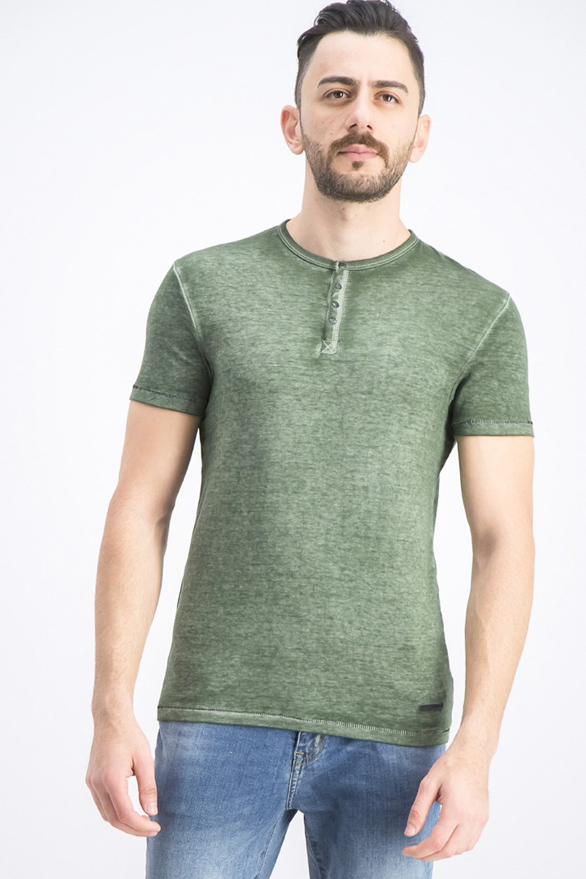 Men's Kasum Vintage-Inspired Henley, Green