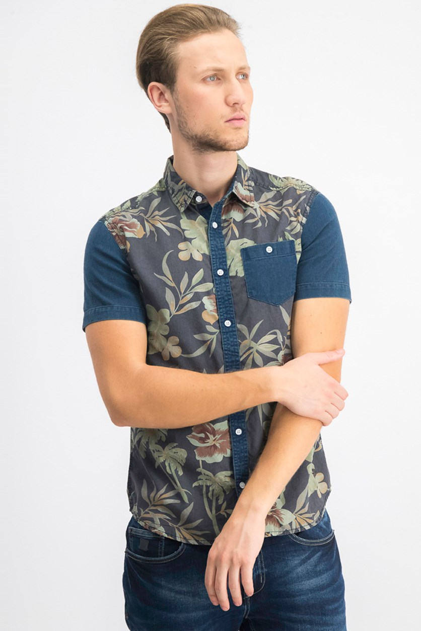 Men's Siuvon Regular-Fit Color Blocked Floral-Print Shirt, Charcoal