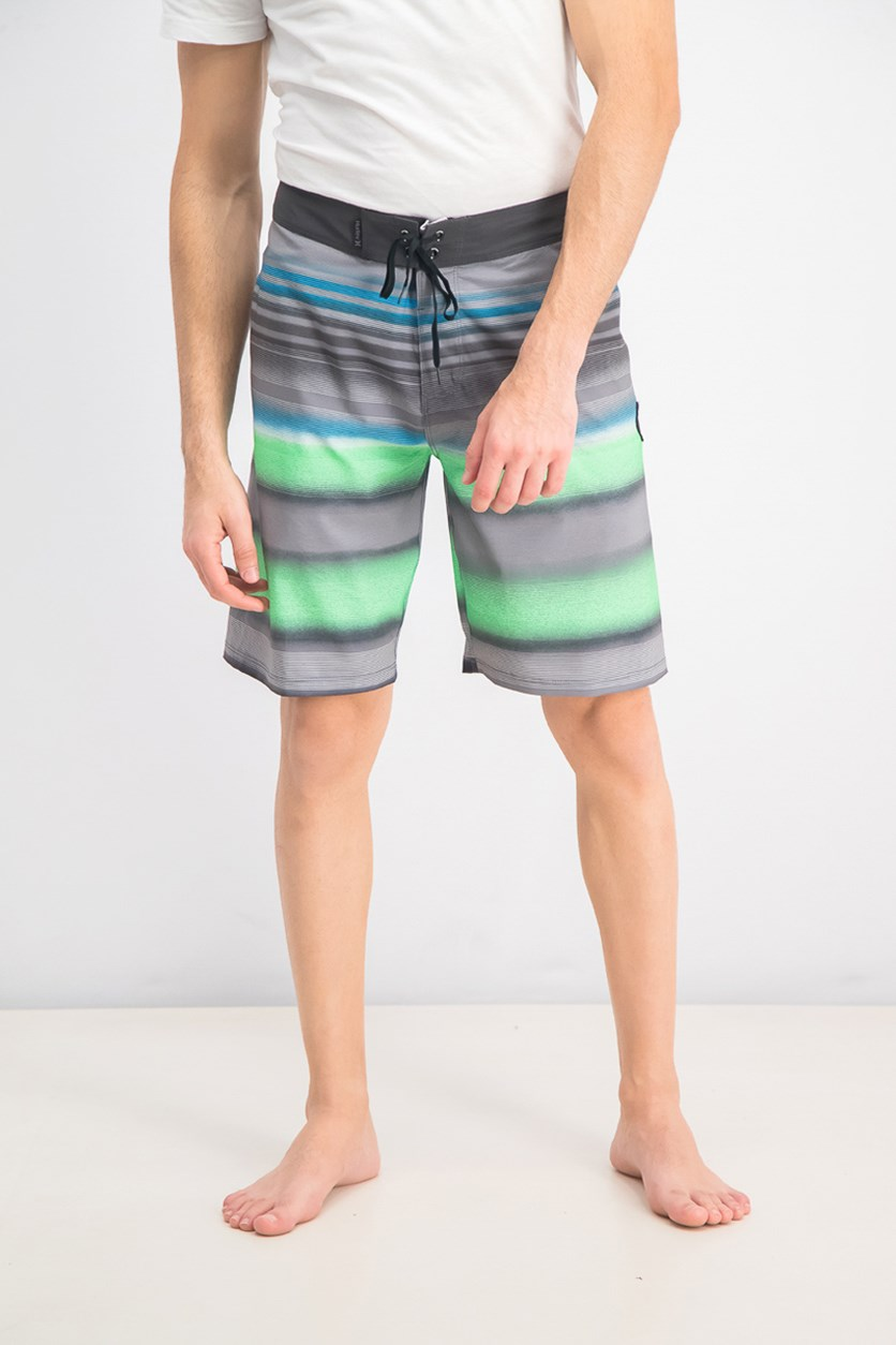 Men's Stripe Board Shorts, Black Combo