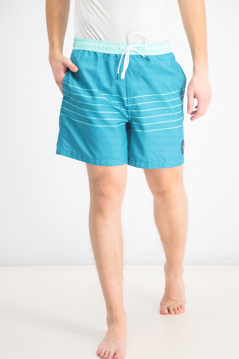 Men's Stripe Volley Shorts, Blue/Turquoise