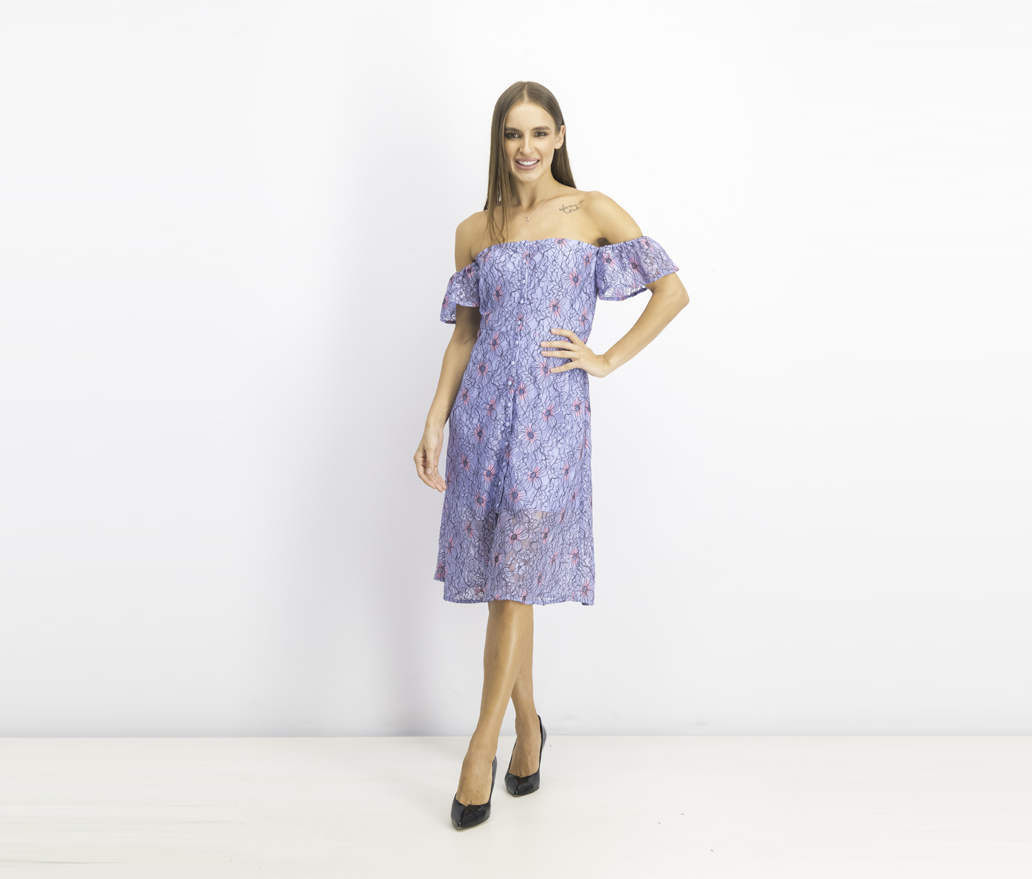 Women's Off-the-Shoulder Lace A-Line Dress, Steel Blue/Pink