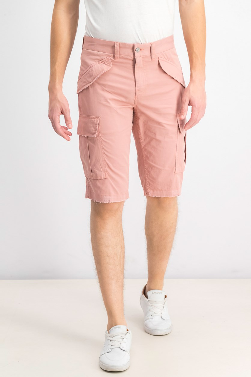Men's Summery Stretch Cargo Shorts, Satin Rose