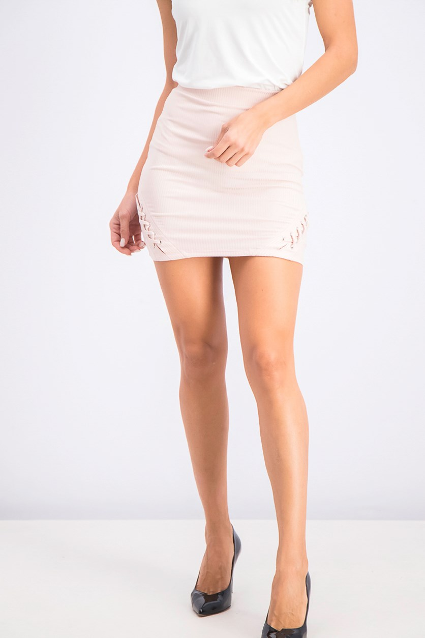 Juniors' Lace-Up Rib-Knit Mini Skirt, Peach Whip