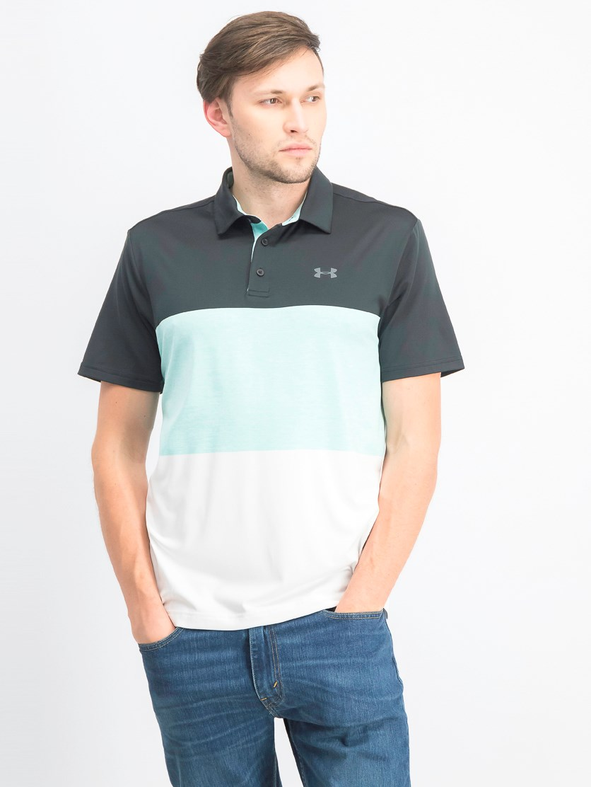 Men's Colorblock Playoff Polo, Black/Blue/White