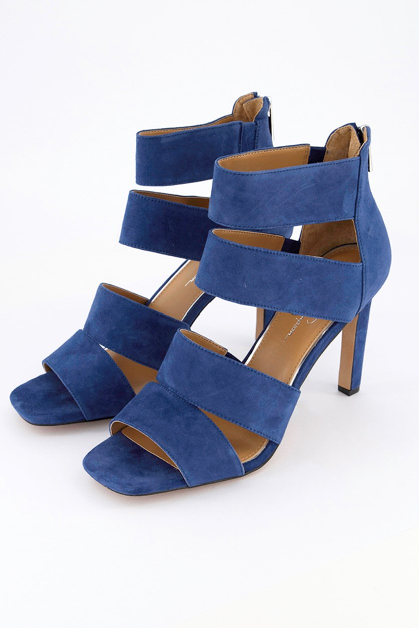 Women's Cerina Fabric Open Toe Casual Ankle, Blue Suede