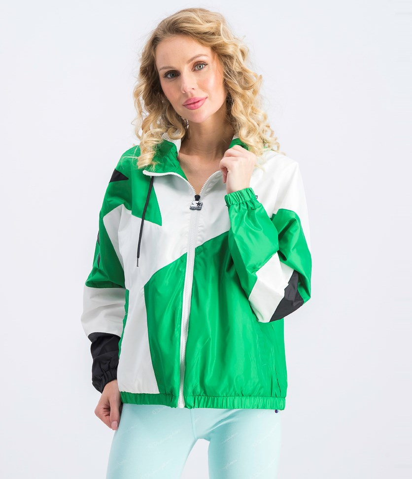 Women's Colorblocked Hooded Active Jacket, Green/White
