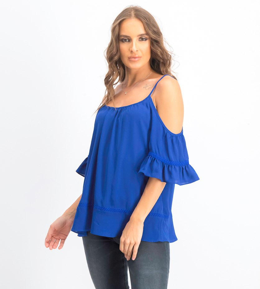 Women's Cold-Shoulder Lace-Trim Top, Twilight Blue