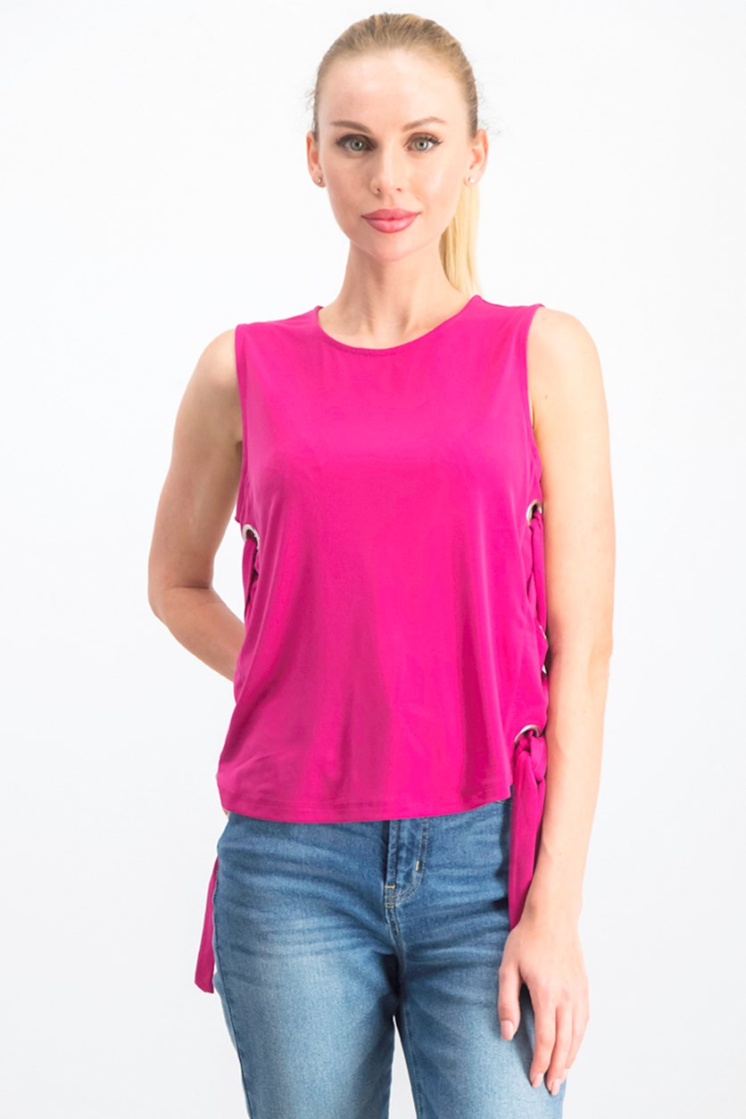 Grommet-Side Sleeveless Top, Fuschia