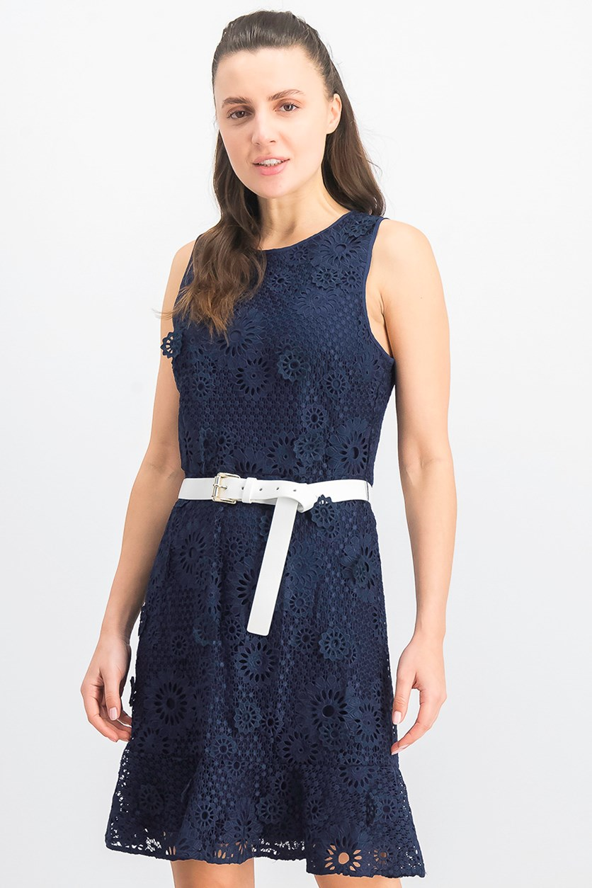 Women's Lace Belted Dress, True Navy