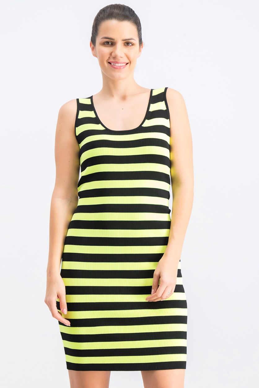 Womens Striped Tank Dress, Black/Neon Green