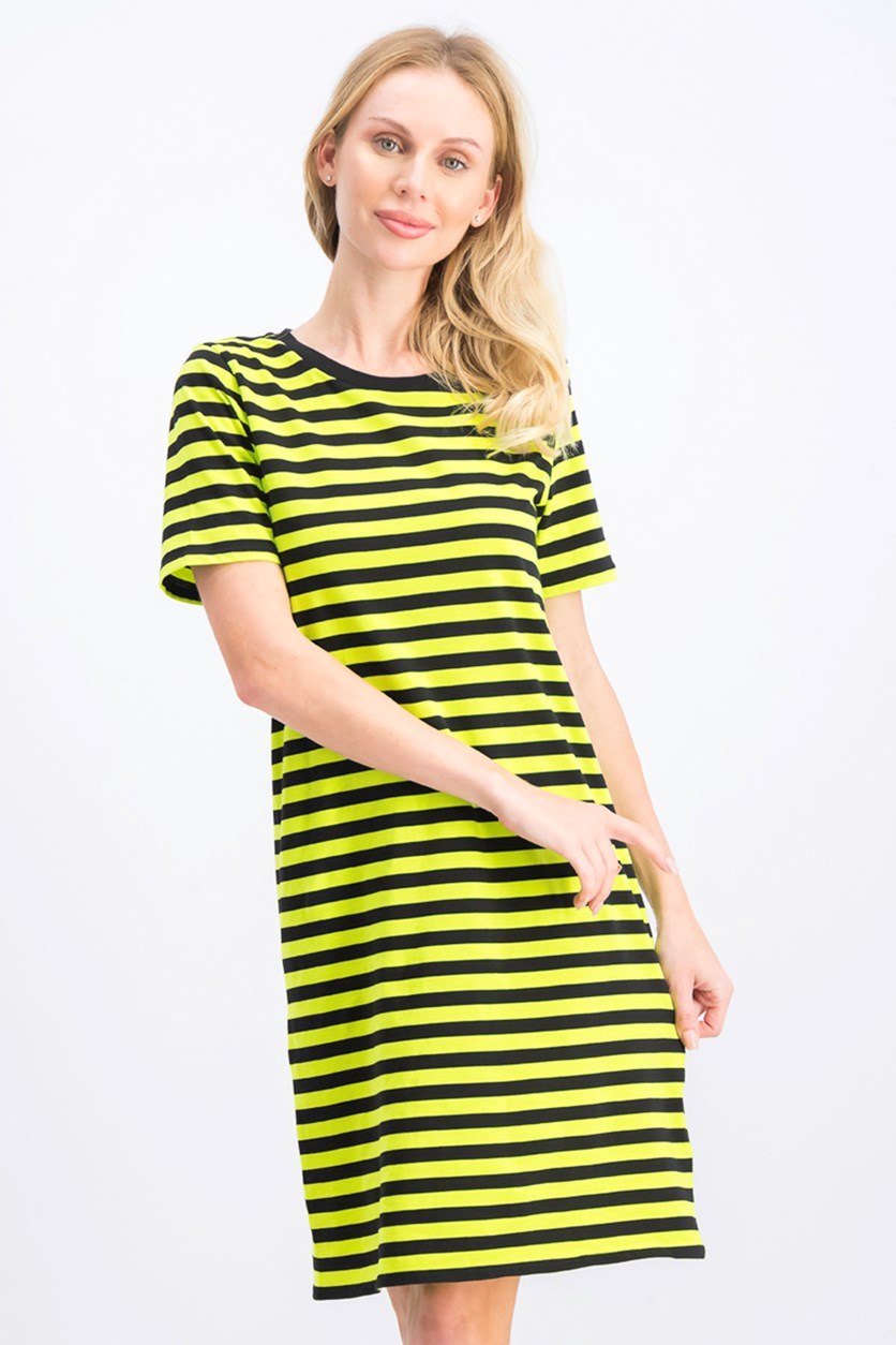Women's Striped T-Shirt Dress, Black/Lime