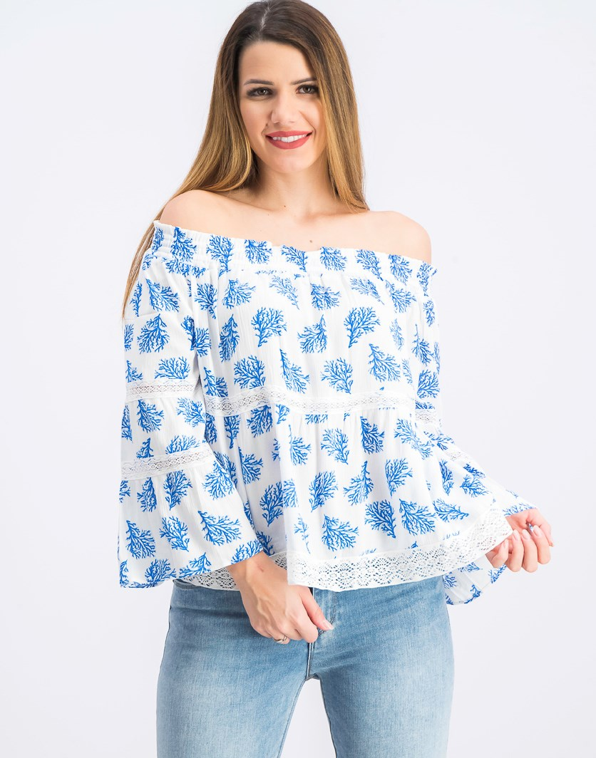 Women's Painted Reef Off-The-Shoulder Top, White/Blue