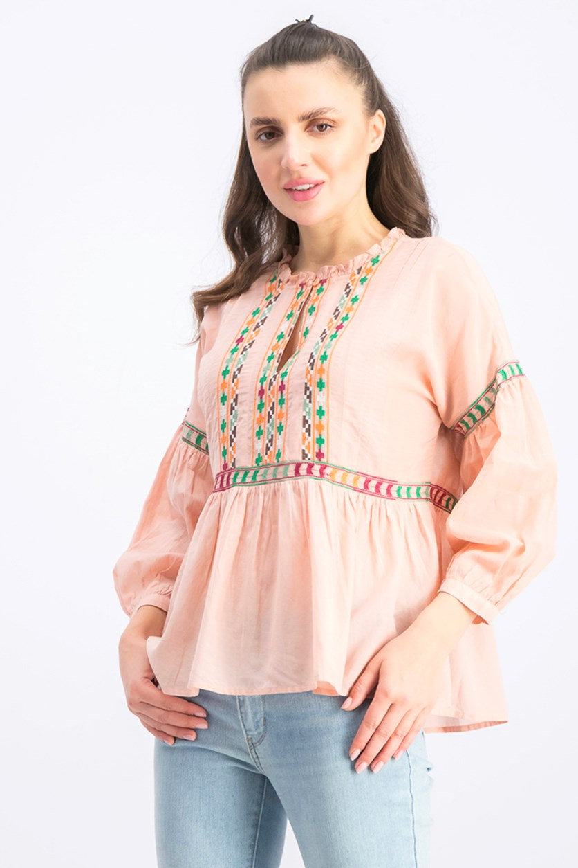 Women's Embroidered Peasant Top, Pale Pink