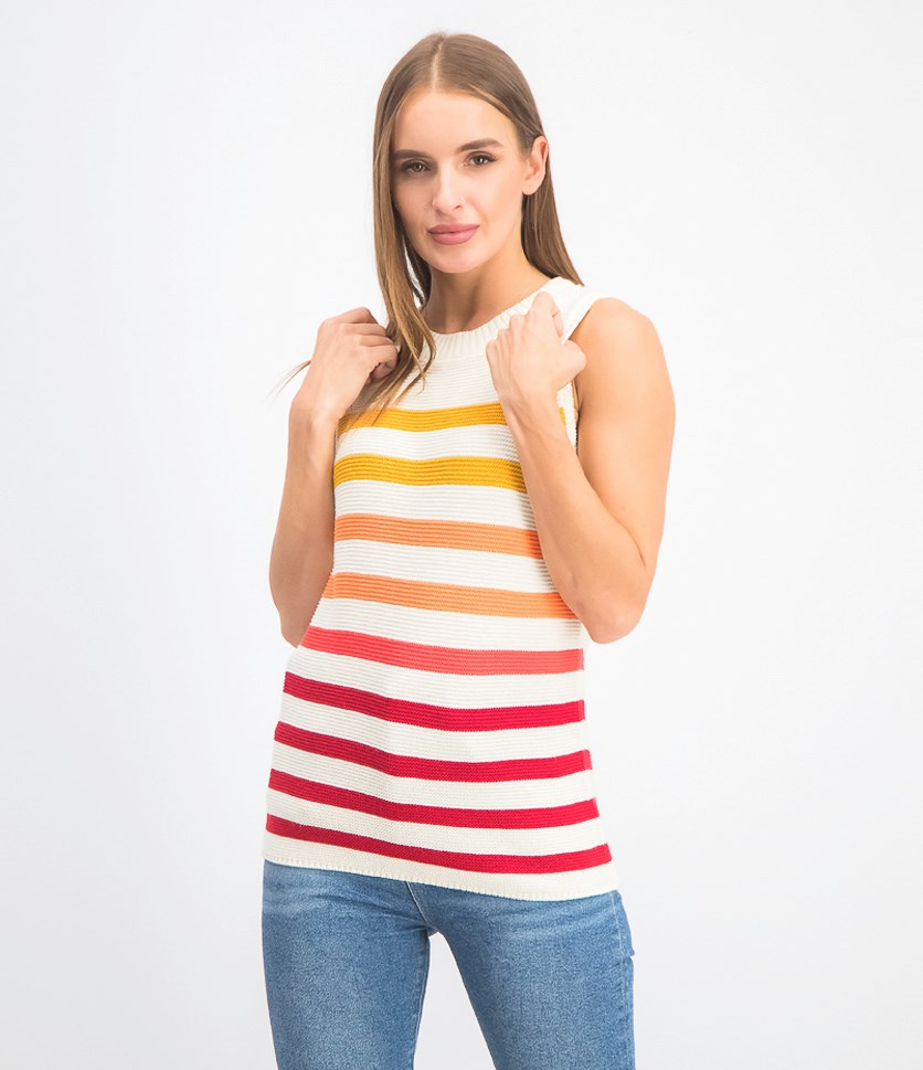 Women's Sleeveless Stripe Top, Ivory Combo