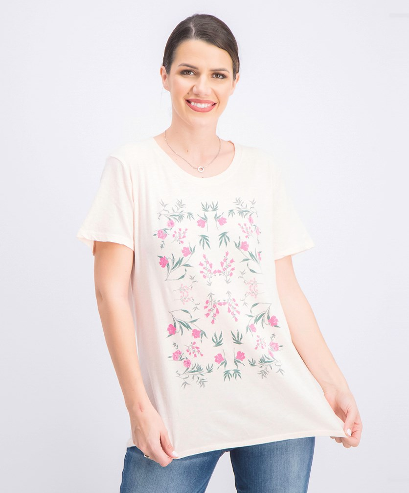 Women's Mosaic Flower Graphic Tee, Light Pink