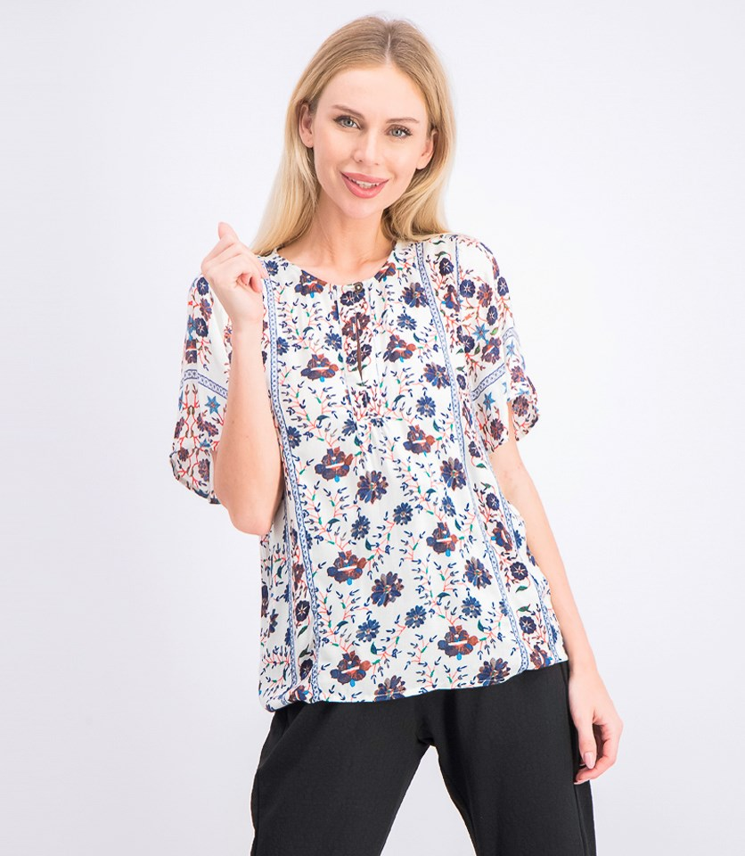 Women's Floral Peasant Top, Blue/Beige Combo
