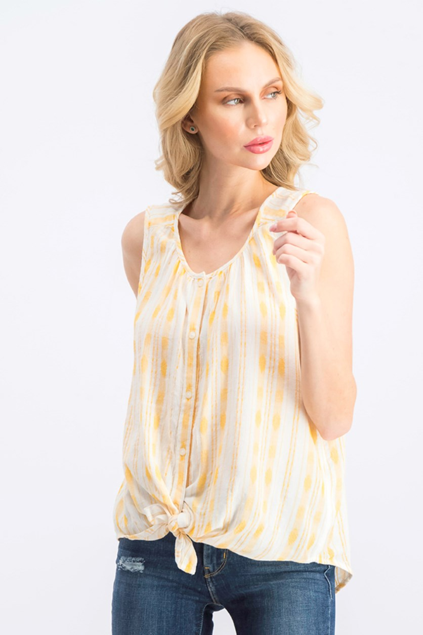 Women's Stripes Textured Top, Gold Combo